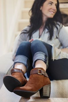 """Image of The """"Heather"""" Vegan Leather + Suede Booties"""