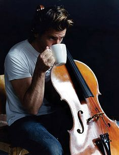 cello + man + coffee = very cool