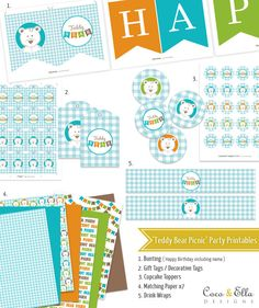 Printable Birthday Party Collection Template - Teddy Bears Picnic