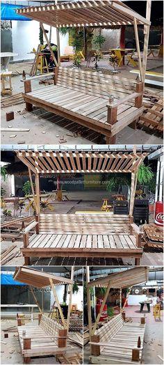wood pallets garden seating idea