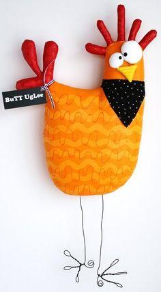 Huhn mit dem Namen KernaLL... Hintern UgLee Orange von buttuglee