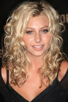 Medium Length Spiral Perm | Elegant Long Curly Hairstyle and Gold Hair Color for Women from Alyson ...