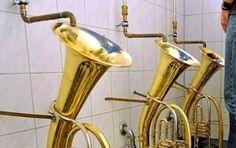 Tuba-shaped urinal design ❦http://PhilosBooks.com❦