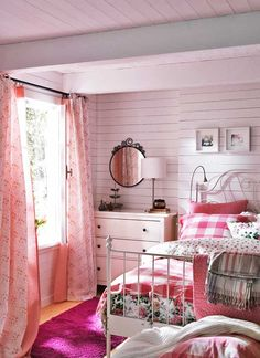 White and pinks cottagey bedroom