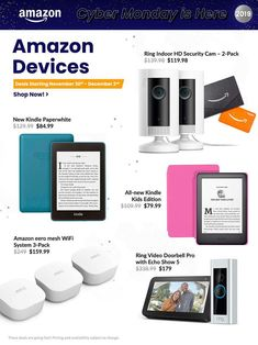 Amazon Cyber Monday Ad Scan, Deals and Sales 2019 The Amazon 2019 Cyber Monday ad is here! Be sure to subscribe to our newsletter to receive emails about all the latest Cyber Monday news and ad leaks ... #cybermonday #amazon Cyber Monday Ads, Monday News, Amazon Black Friday, Hd Security Camera, Ring Video Doorbell