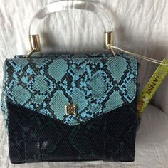 NWT Gianni Bini Turquoise Snakeskin Satchel Purse Bag Lucite Handle #GIANNIBiNI #Satchel