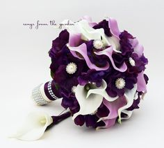 Purple & Lavender Real Touch Calla Lily Wedding Bouquet Lavender White Calla Lilies Purple Hydrangea Rhinestone Pearl Accents