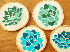 Hand painted drink coasters Coaster set of 4 Succulent art Summer Colors Unique gift ideas Birch wood decor (30.00 USD) by DanielleContiArt
