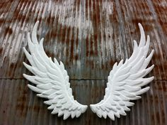 Items similar to hand sculpted pair of angel wings wall art on Etsy Angel Wings Art, Angel Wings Costume, Angel Wings Wall Decor, Feather Angel Wings, Angel Art, Diy Arts And Crafts, Clay Crafts, Halloween Wings, Clay Angel