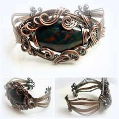 "BloodStone Cuff in Wire Wrapped in Antique Copper. To fit a 6.5 - 7"" wrist  £48"