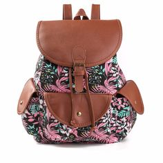 0384f4b089d6 printing backpack women bags Canvas String backpack For Teenage Girls High  Quality Canvas Leather Travel Bags