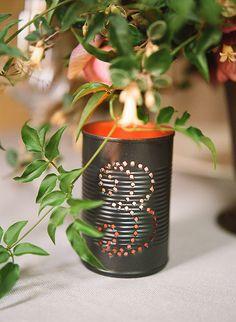 DIY Tin Can Table Number Luminary