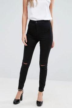 New Look Double Slash Skinny Jeans - Black #modasto #giyim #moda https://modasto.com/new-look/kadin/br28991ct2