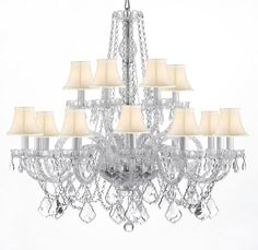 Crystal Chandelier Lighting With White Shades H38 x W37