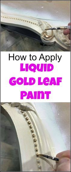 Looking for the best liquid gold leaf? Look no more. This liquid leaf is easy to use and creates a gold metallic luster to your project for an elegant touch. See how to apply gold leaf with a short video and find where to buy gold leaf paint. | liquid gold paint | gold leaf paint | liquid leaf | liquid gold leaf paint | painted furniture | painted mirror | ornate mirror | gold mirror | gold leaf painted mirror via @justthewoods