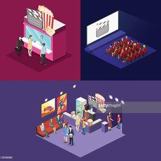 Vector Art : Isometric flat 3D concept vector interior of cinema hall.