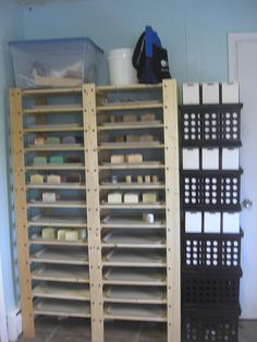 Nice curing rack!  This lady has a great soaping room!