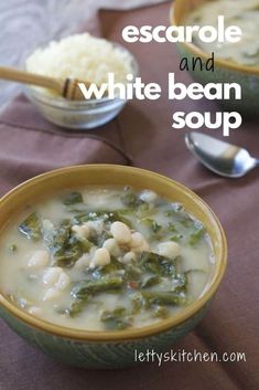 This robust vegetarian white bean soup is an easy meal-in-a-bowl that's guaranteed to warm you on a chilly day. This classic Italian soup can be made with collard greens or leafy escarole greens. #whitebeans #soup #vegetarian #escarole #collardgreens #lettyskitchen