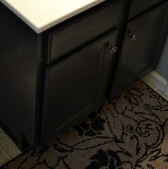Add bead board wallpaper to cabinet fronts!