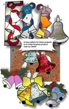 stain glass christmas patterns | stained glass Bell 2 - pattern has 17 stained glass pieces ...