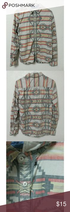 Southwestern Print Button Down There is a hole under the collar on the byas Shirts Casual Button Down Shirts