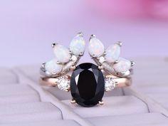 Oval Black Spinel Wedding Ring Sets Tiara Opal Band 14k Rose Gold 7x9mm - 7 / 14K White Gold