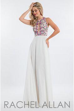 Rachel Allan 7640 White Prom Dress