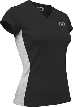 PT823PC Ladies Form Fit Workout Shirt with White Side Panels-Moisture Management, Odor ControlTechnology-Aerobics, Running, Gym, and Yoga-Colors Include Black, Navy, Royal Blue and Red-Sizes XS-XXXL (XX-Large, Black/White)
