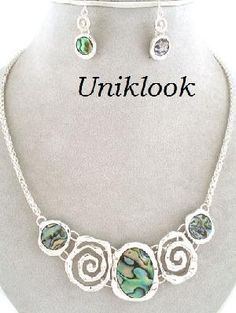 Contemporary Jewelry Silver Bib Decor Abalone Statement design Necklace Earrings