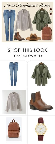 """Stone Parchment Shears"" by recklesspineapple ❤ liked on Polyvore featuring Paige Denim, Band of Outsiders, Steve Madden, Eastpak, Kate Spade, rag & bone, women's clothing, women, female and woman"
