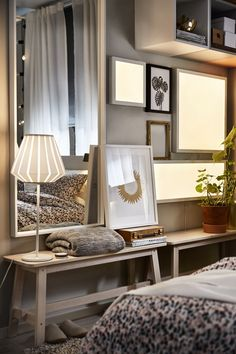 FLOALT led-lichtpaneel | IKEAcatalogus nieuw 2018 IKEA IKEAnl IKEAnederland led verlichting raam decoratie slaapkamer woonkamer keuken zolder hobby kantoor werkplek sfeerverlichting NISSEDAL spiegel wit gelazuurd eikeneffect slaapkamer aankleden