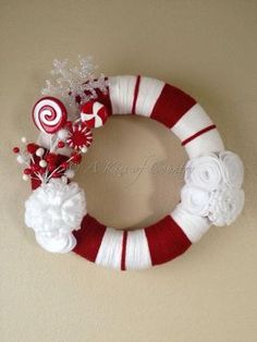 Christmas wreath  candy cane wreath by AKissofcountry on Etsy, $50.00 by roc