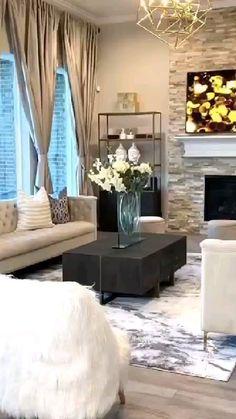 Decor Home Living Room, Glam Living Room, Elegant Living Room, Cozy Living Rooms, Formal Living Rooms, Living Room Modern, Home And Living, Living Room Designs, Room Ideas