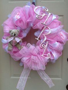 Custom Baby Girl Wreath Nursery Wreath Shower by Cindyswreathsand, $65.00