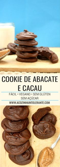 Avocado and Cocoa Cookie - comida - Abacate Dairy Free Recipes, Low Carb Recipes, Real Food Recipes, Vegan Recipes, Yummy Food, Tortillas Veganas, Healthy Cupcakes, Vegan Candies, Cocoa Cookies