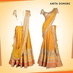 Yellow and Burnt Orange Lehenga set by @Anita Dongre