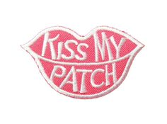 Pink Kiss My Patch  Lip patch DIY Embroidered Applique by DIYMINT