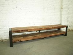 Meuble TV en bois recyclé (Teck) et métal 1 étagère Isis