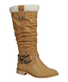 Take a look at this Beige Harwin Fuzzy Collar Boot by Reneeze on #zulily today!