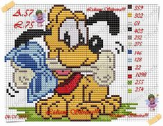 Pinta e Borda (Lidiane Silveira) Beaded Cross Stitch, Cross Stitch Charts, Cross Stitch Designs, Cross Stitch Patterns, Disney Stitch, Animated Disney Characters, Hama Disney, Pixel Pattern, Mickey Mouse And Friends