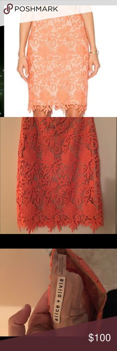 Alice + Olivia lace orange skirt Alice and Olivia orange lace skirt in size 6. Purchased from another posher but the orange is just not my color. Seen on Nikki Bella from WWE and Total Divas - true to size and fitted. Just trying to get back what I paid after posh fees if possible. Alice + Olivia Skirts