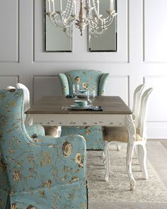 """Dining table ideas!     Shabby Chic """"Kendall"""" Dining Table, """"Tana"""" Skirted Chair, & """"LaDonna"""" Dining Chair $589.00 thestylecure.com"""