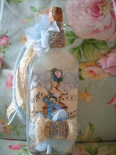vintage,shabby,cottage,french,paris,victorian,marie antoinette,rhinestone,altered art bottle 1