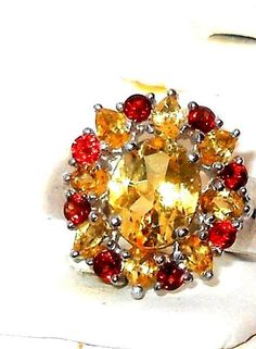 CITRINE AND GARNET Ring  4.50ctw size 7  sterling  #citrinegarnet #SolitairewithAccents http://stores.ebay.com/JEWELRY-AND-GIFTS-BY-ALICE-AND-ANN