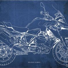 2016 BMW Blueprint Blue Background by Drawspots Illustrations Enfield Bullet, Gull, Blue Backgrounds, Digital Art, Instagram Images, Design Inspiration, Bow, Motorcycle, Illustrations