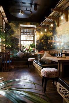 Wnętrze restauracji, jakże inspirujące i egzotyczne. Kobe Japanese restaurant in Odessa, Ukraine