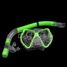Swimming Scuba Protective Goggles Mask Dive Diving Glasses Semi Dry Snorkel Set