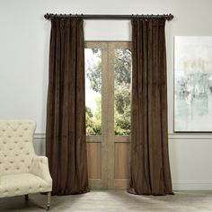Control the privacy in your home with this lovely and opulent velvet blackout curtain panel in a rich, dark chocolate color. The rod-pocket…