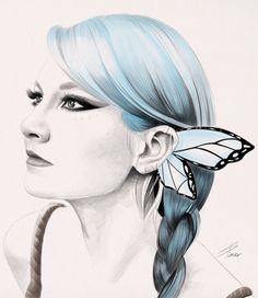 Butterfly Girl - digital portrait illustration