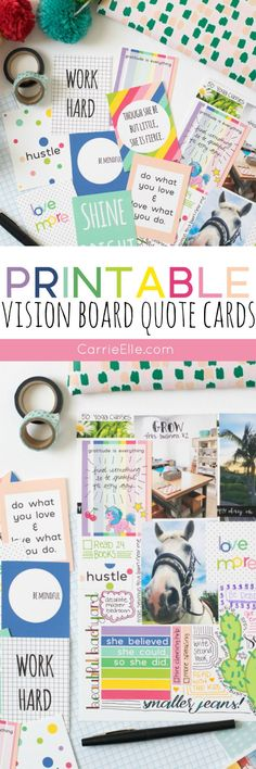 Printable Vision Board Quote Cards (there are lots of creative ways you can use these cute cards!)